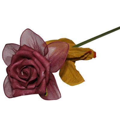 Decoratie bloem Bordeaux rode roos
