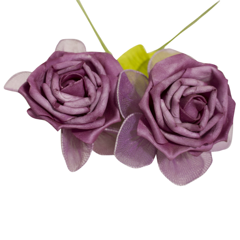 Decoratie kunstbloem Fuchsia roos