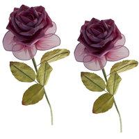 Kunstbloem roos Fuchsia  kleine afbeelding