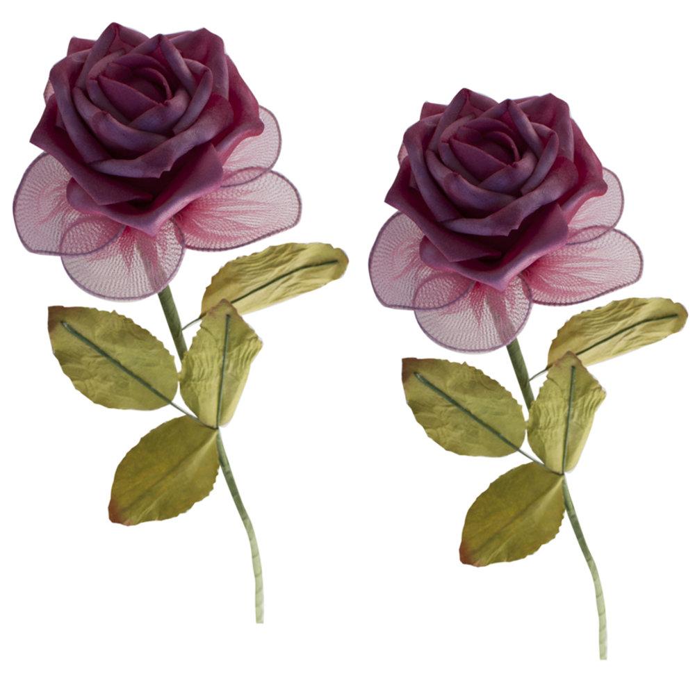 Kunstbloem roos Fuchsia