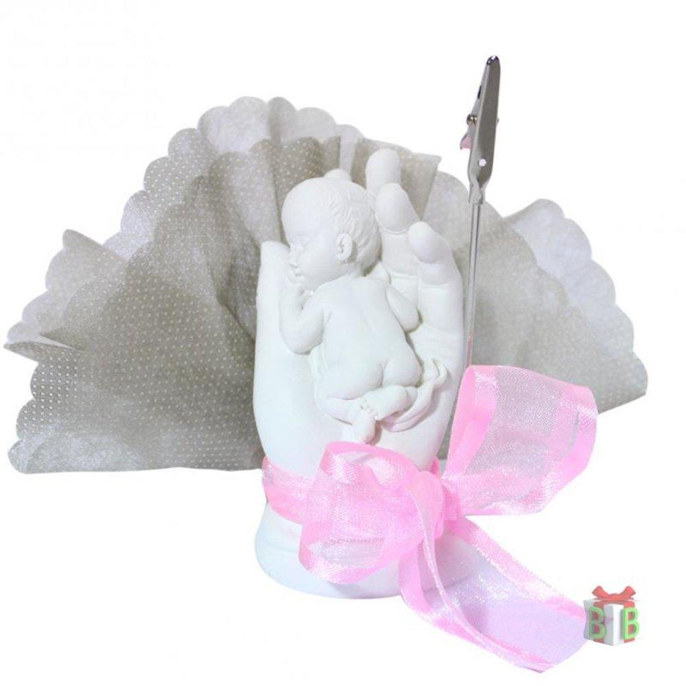 Baby in hand roze tule