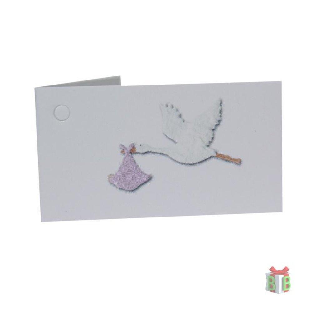 Mini kaartje roze ooievaar