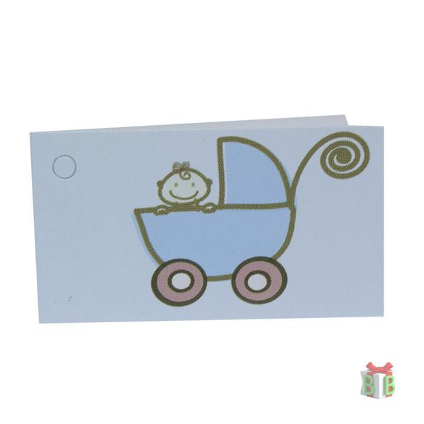 Mini kaartjes wagentje blauw
