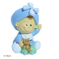 Taarttopper baby blauwe spaarpot  kleine afbeelding