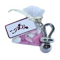 Speensleutelhanger met roze zakje