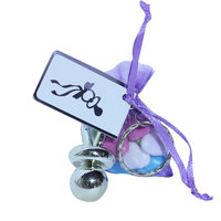 Speensleutelhanger met lila zakje