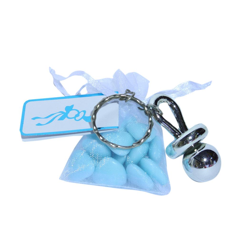 Speensleutelhanger met blauw zakje