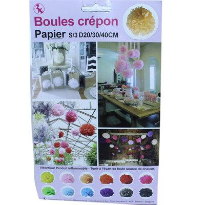 Winkelraamdecoratie Boules Crepon zalm