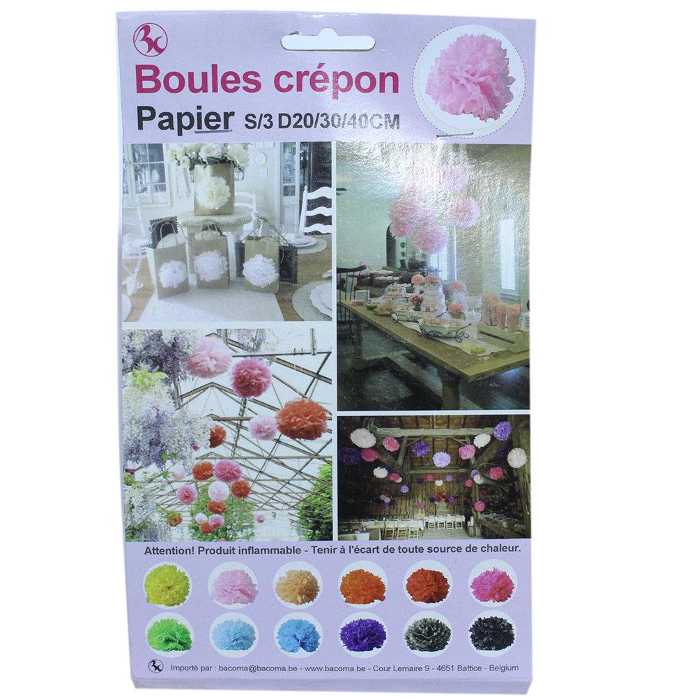 Raamdecoratie Boules Crepon roze