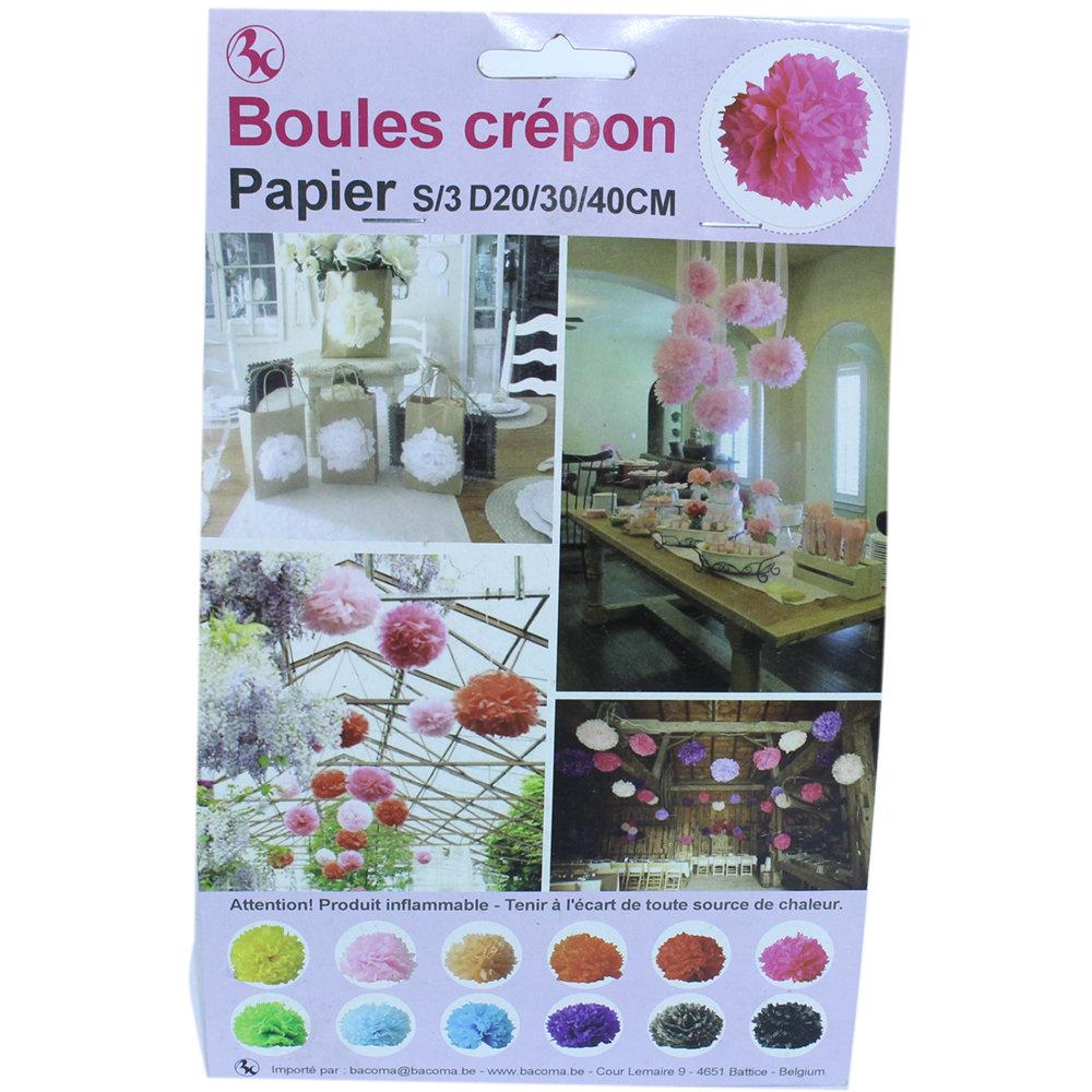 Raamdecoratie Boules Crepon Fuchsia