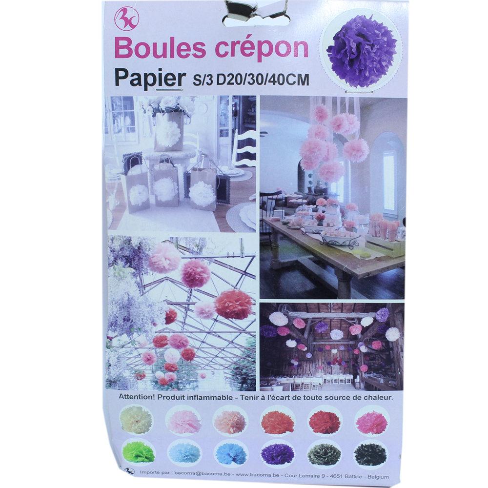 Winkeldecoratie Boules Crepon paars