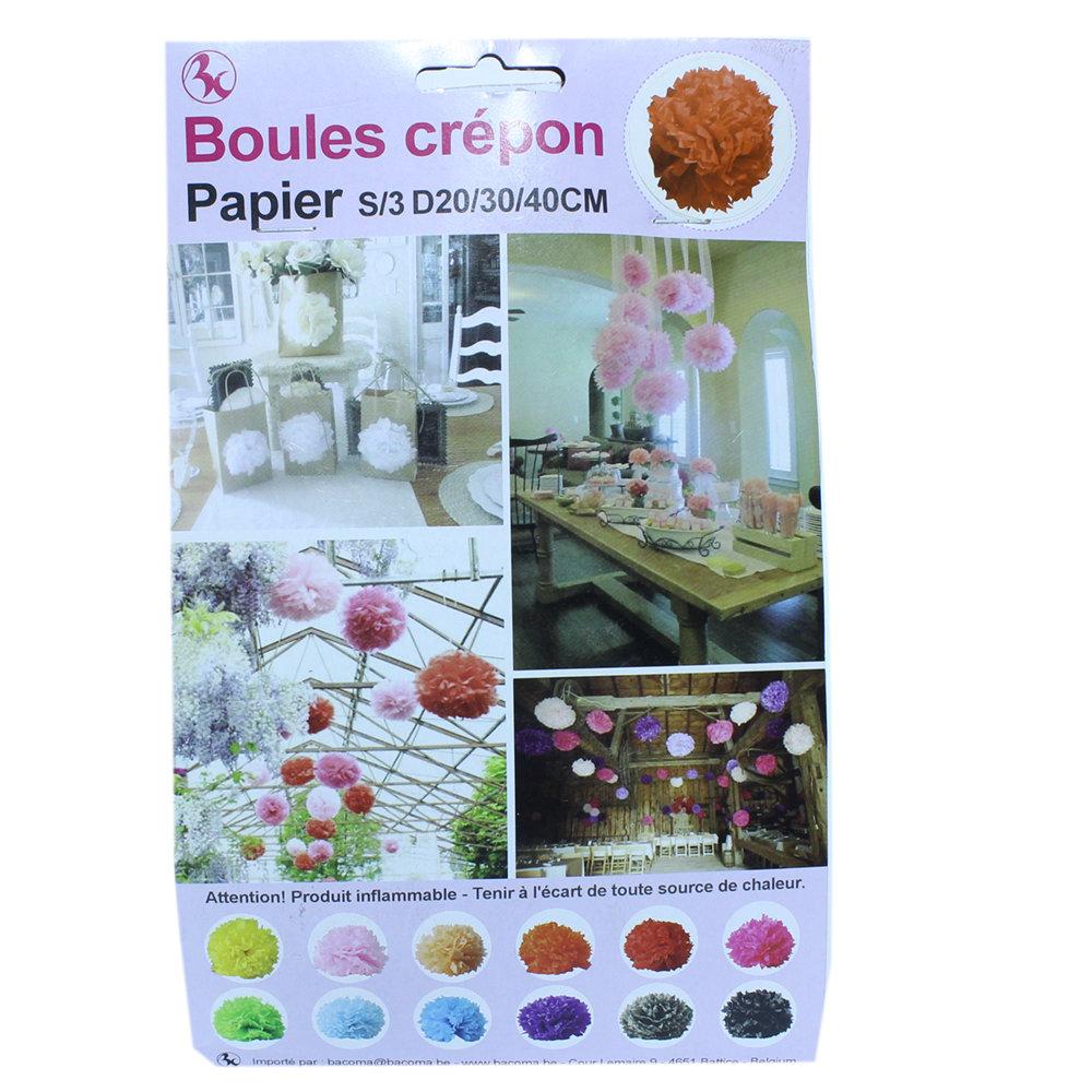 Winkeldecoratie Boules Crepon oranje