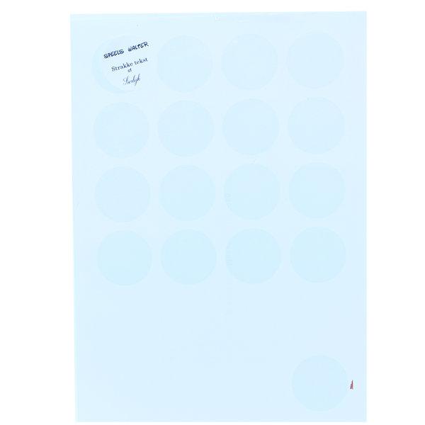 Etiketten op vel rond 4 x 4 cm