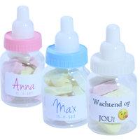Geboortebedankje papfles gevuld suikerhart  kleine afbeelding