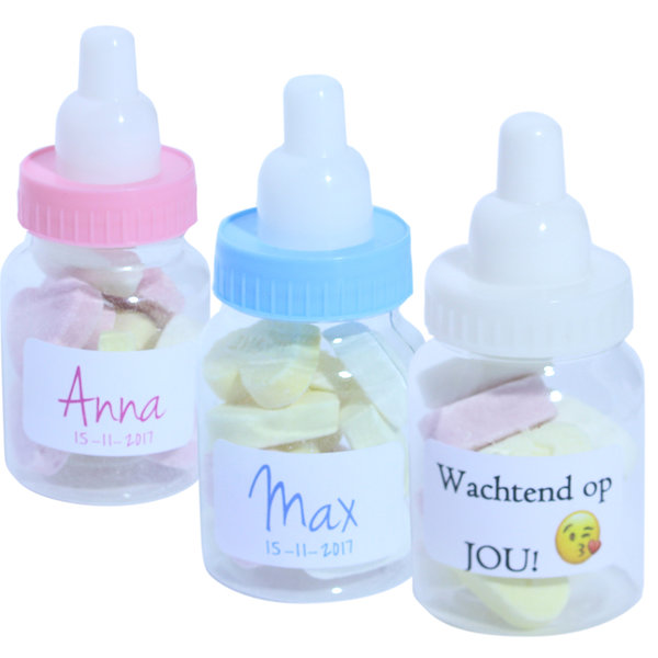 Geboortebedankje papfles gevuld suikerhart