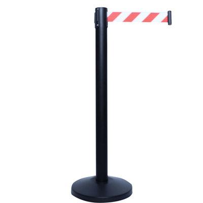 Afzetpaal zwart trekband roodwit