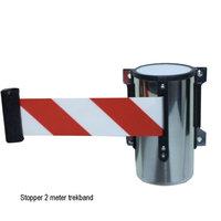 Stopper trekband 2 meter rood wit