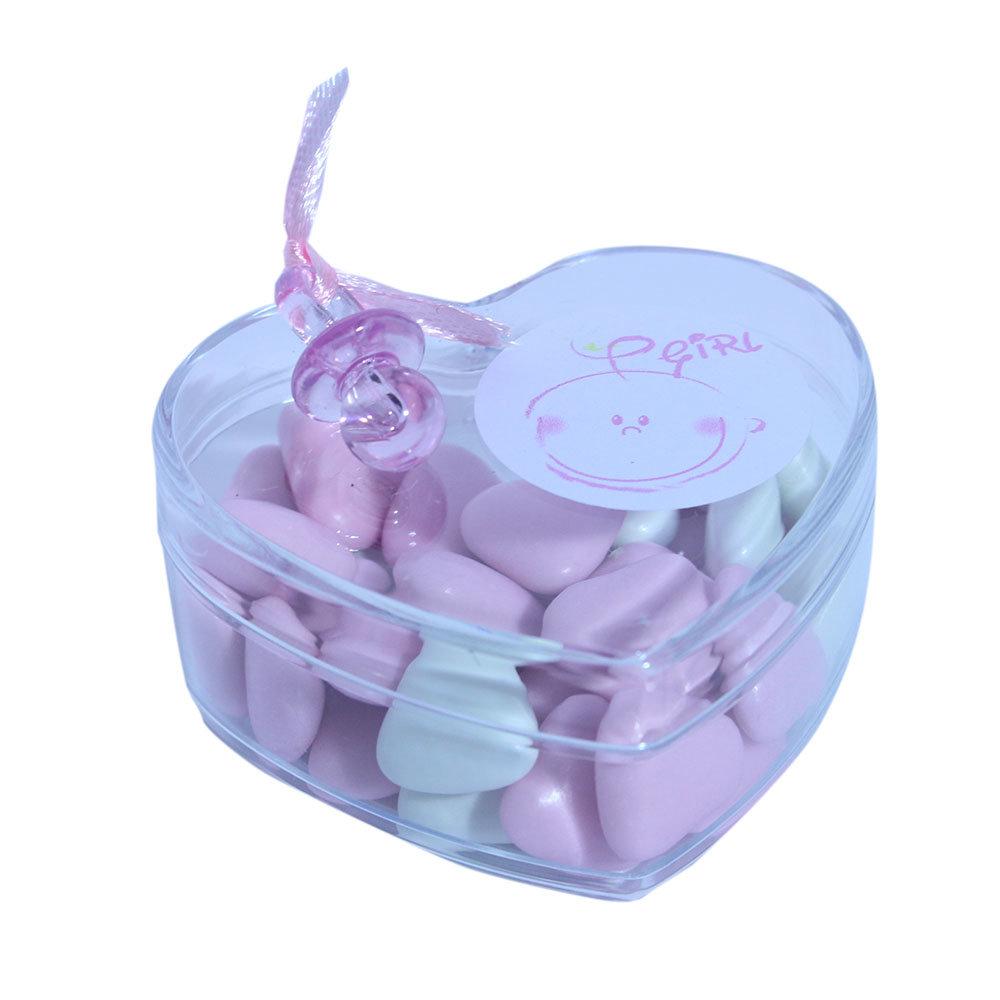 Bedankjes geboorte hart roze speen