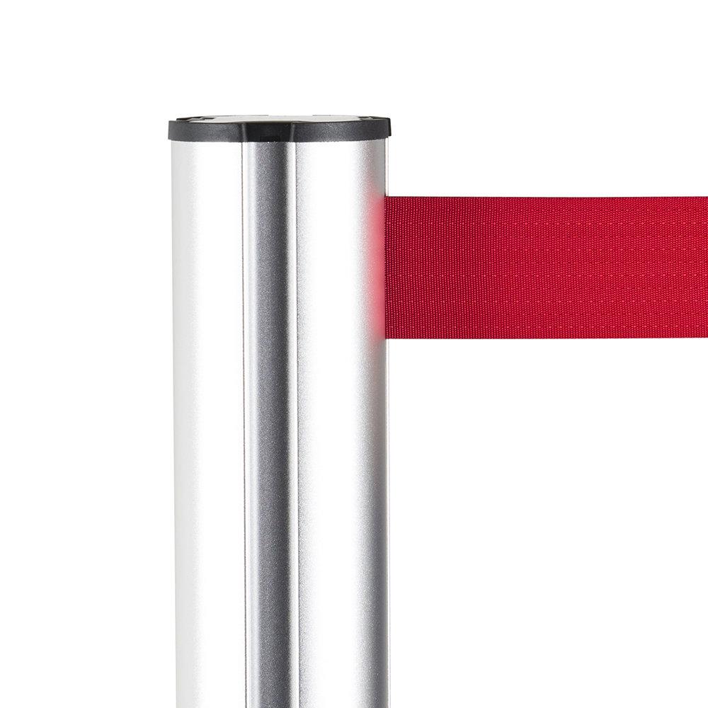 Afzetpaal aluminium rood trekband detail