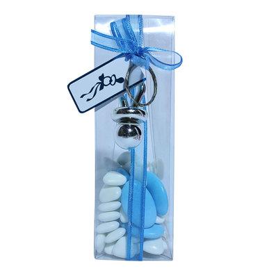 Transparant lang doos blauw met speen