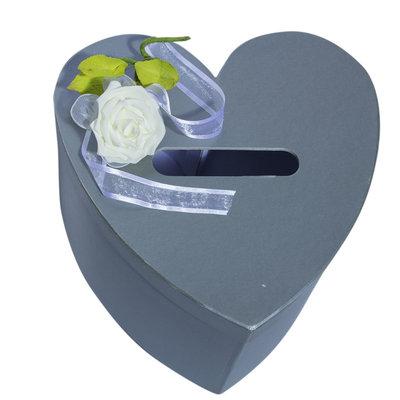 Enveloppedoos grijs hart witte roos