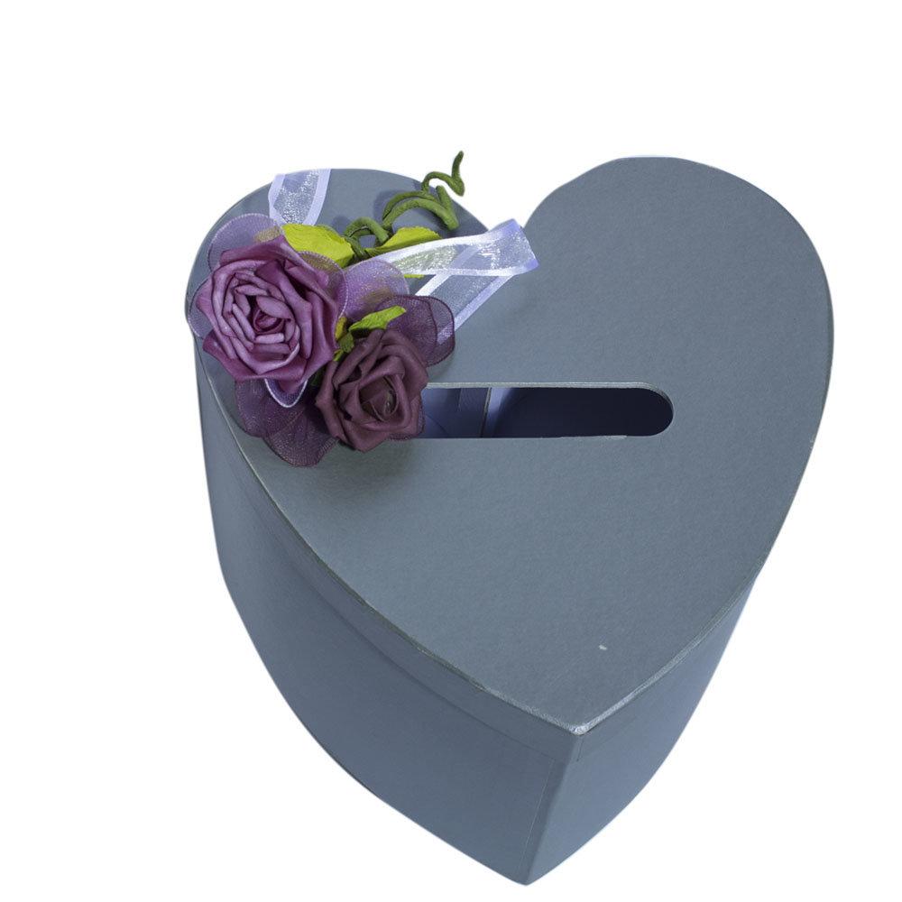 Enveloppendoos grijs hart met rode rozen