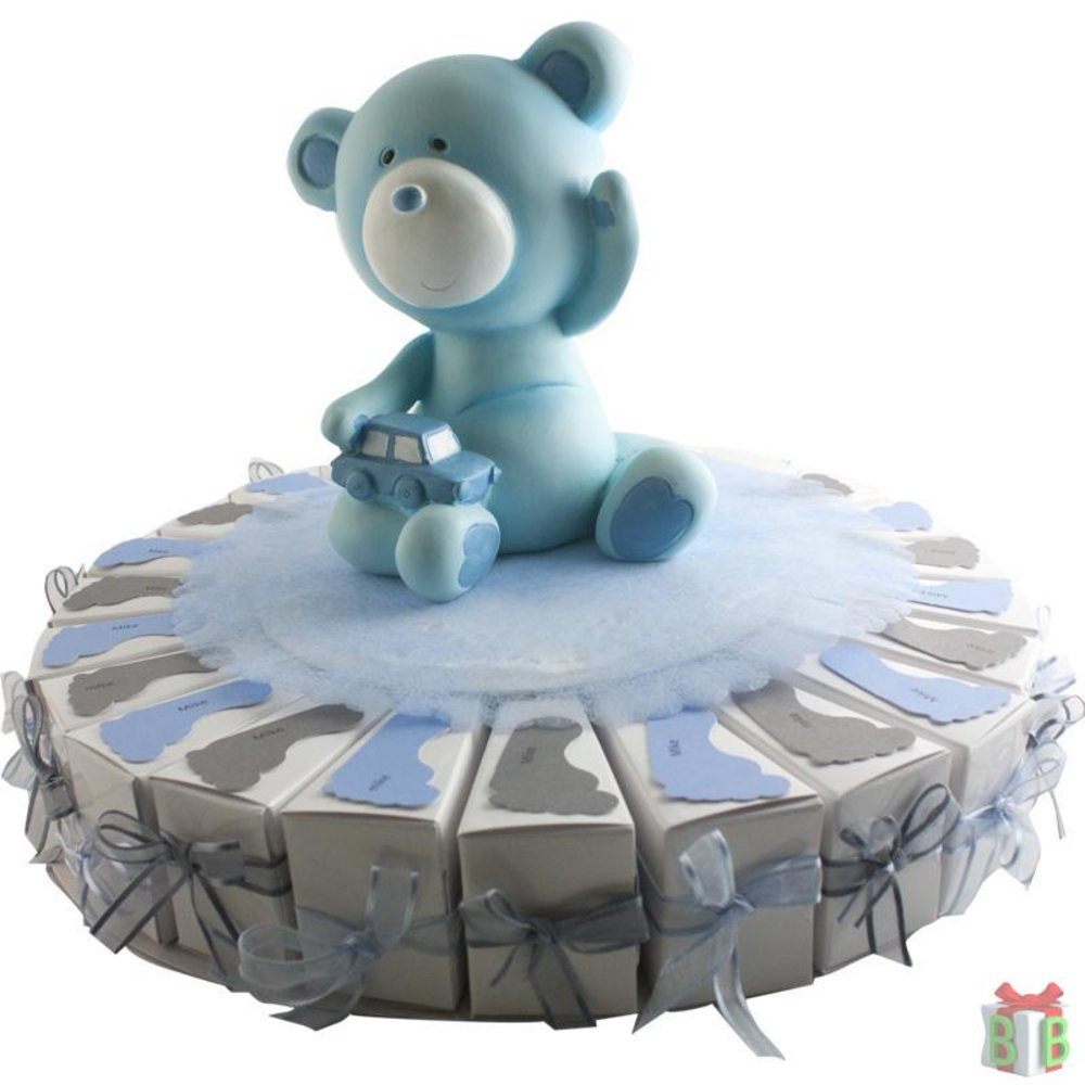 taart met voetjes blauw grijs