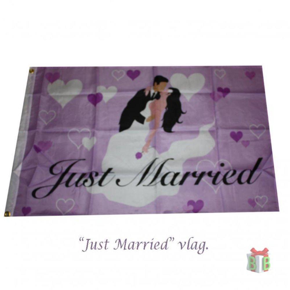 Huwelijksvlag Just Married Gevelvlag