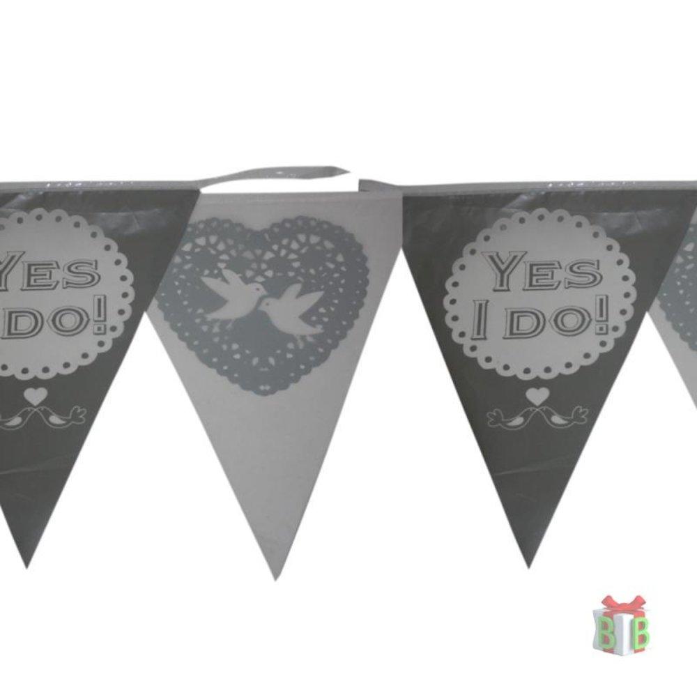 Bruiloftversiering vlaggenlijn Yes I Do !