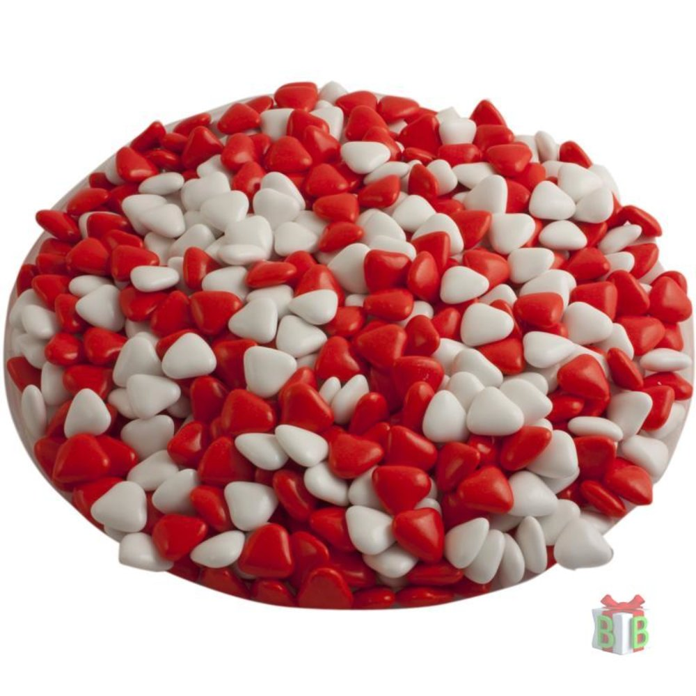 Dragees rood witte mini hartjes