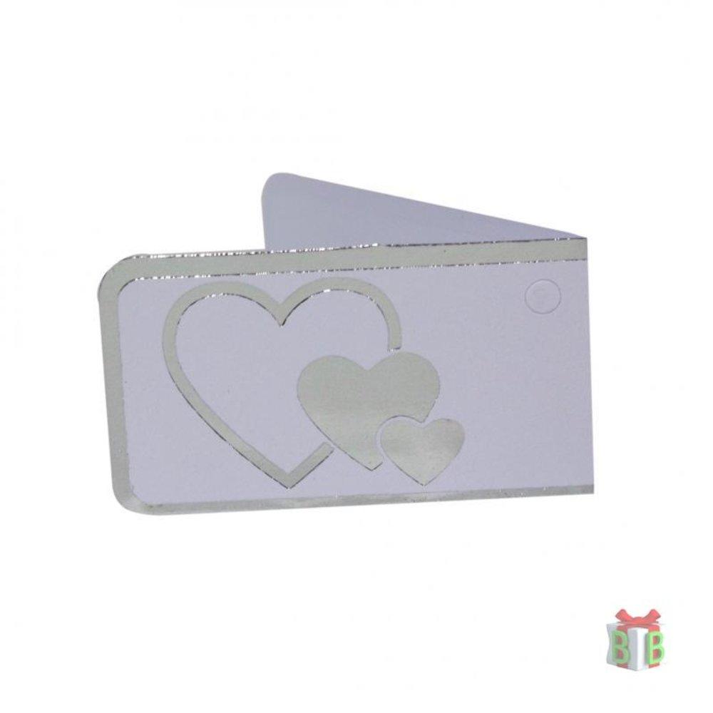 Minikaartje zilveren harten