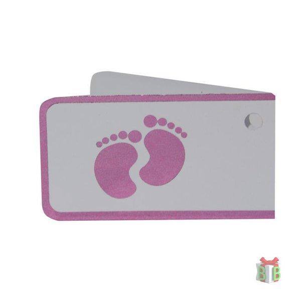 Minikaartjes roze voetjes