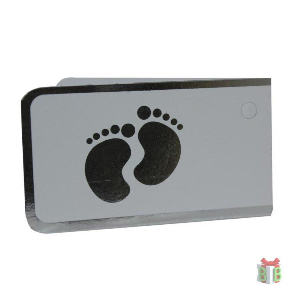Minikaartje zilver voetjes