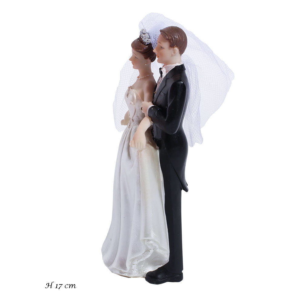 Taarttopper bruid en bruidegom 17 cm