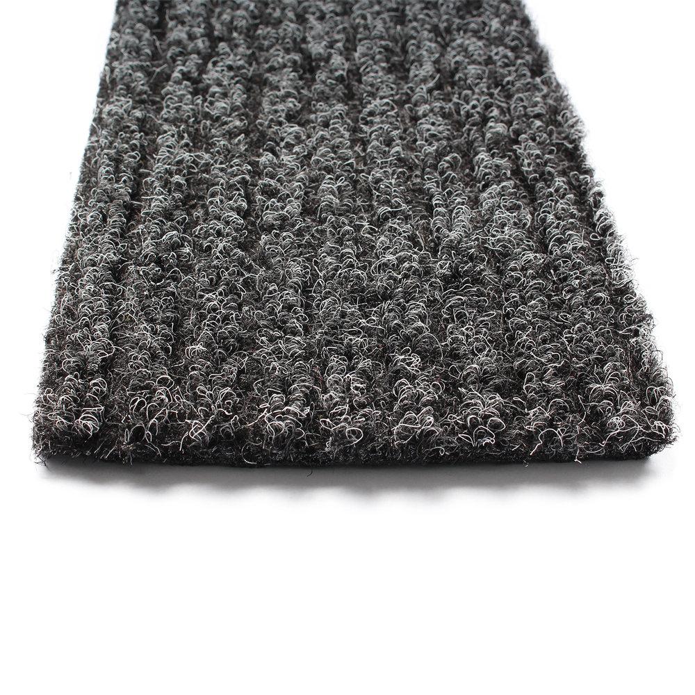 Detailfoto van de bovenzijde van een antraciet grijze schoonloopmat.