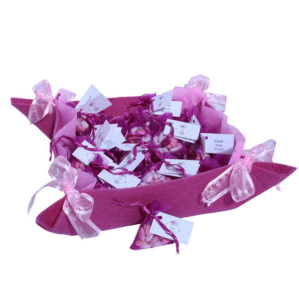Geboortebedankjes snoepzakjes roze