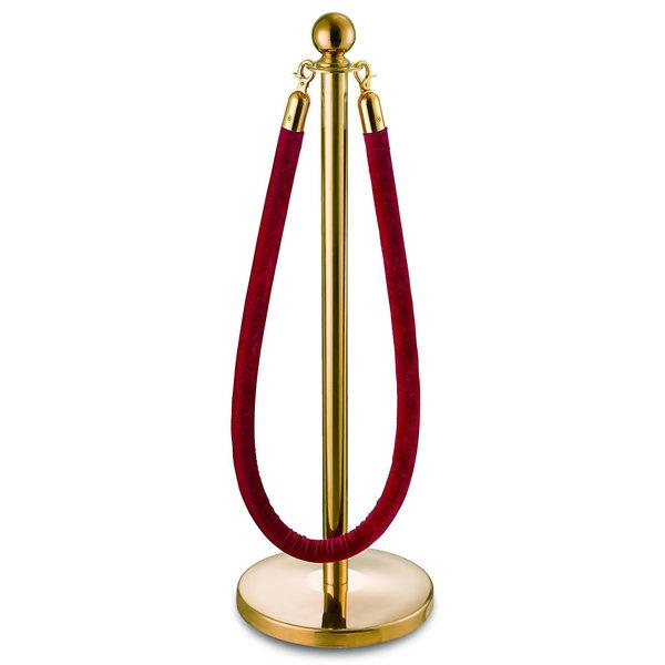 Afzetpaaltje goud met een platte voet, een ronde bol en een rood fluwelen koord
