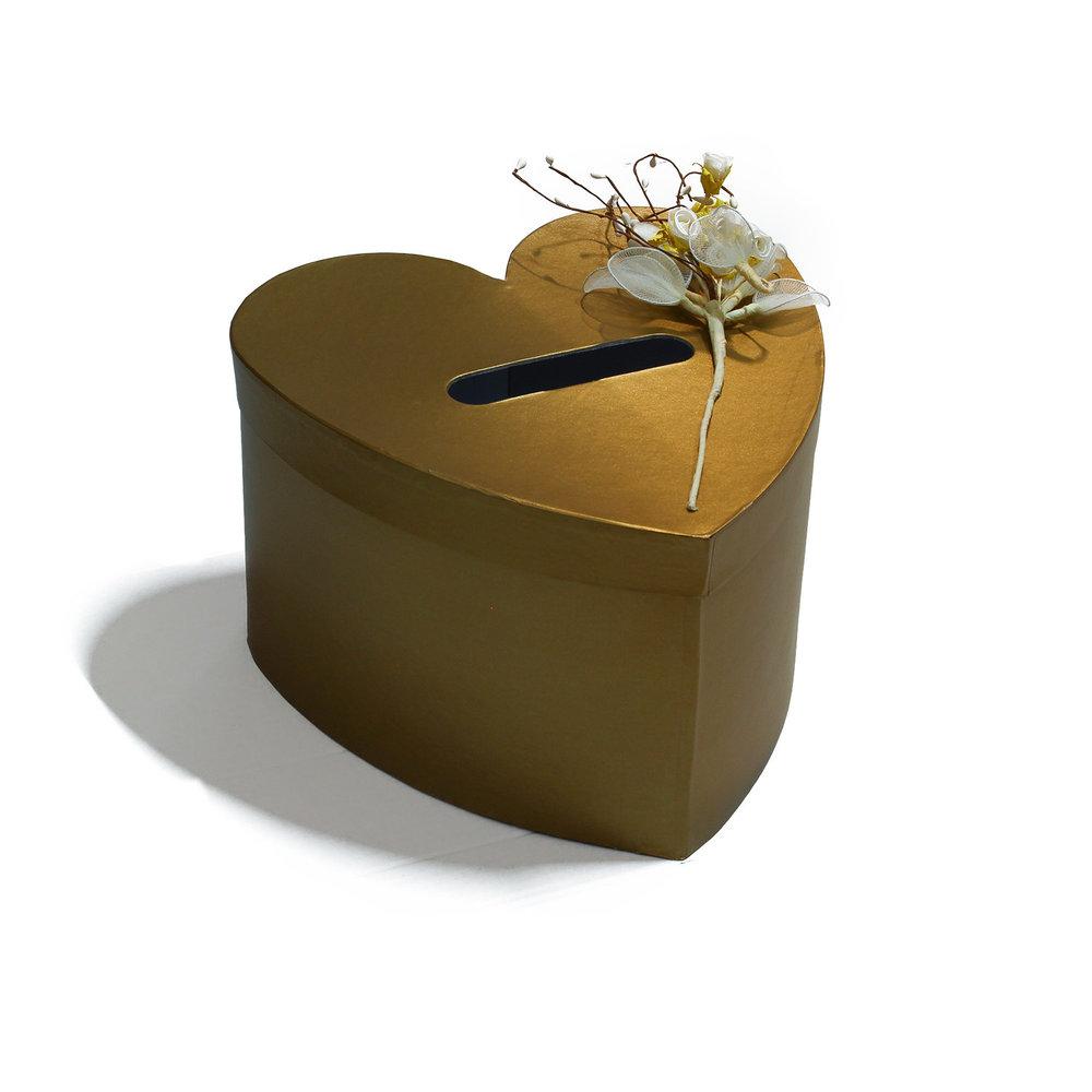 Enveloppendoos goud hart met decoratie