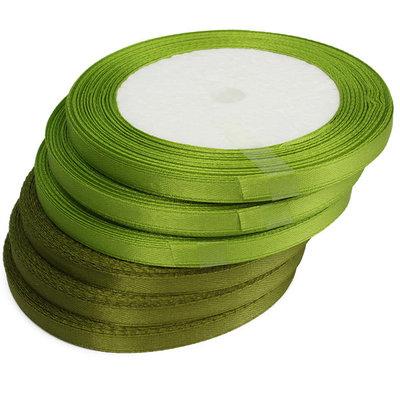 Groen satijn lint 6 mm