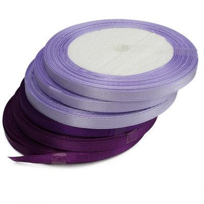 Satijn paars lint 6 mm