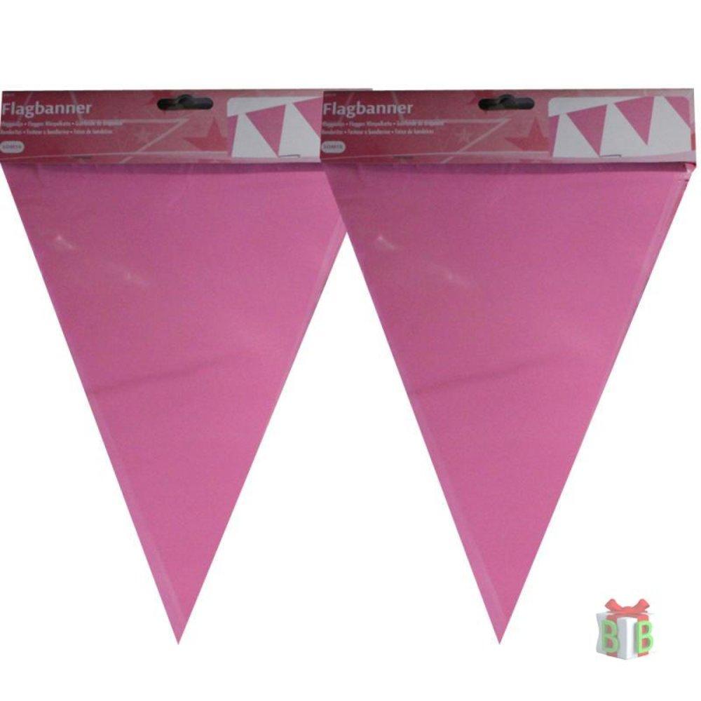 Vlagggenlijn roze 10 meter lang
