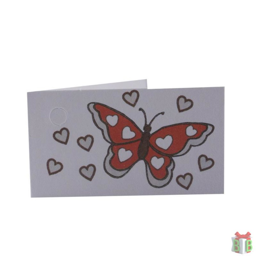 vlinder rood kaartje