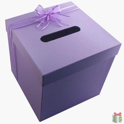 enveloppendoos vierkant lila met lint