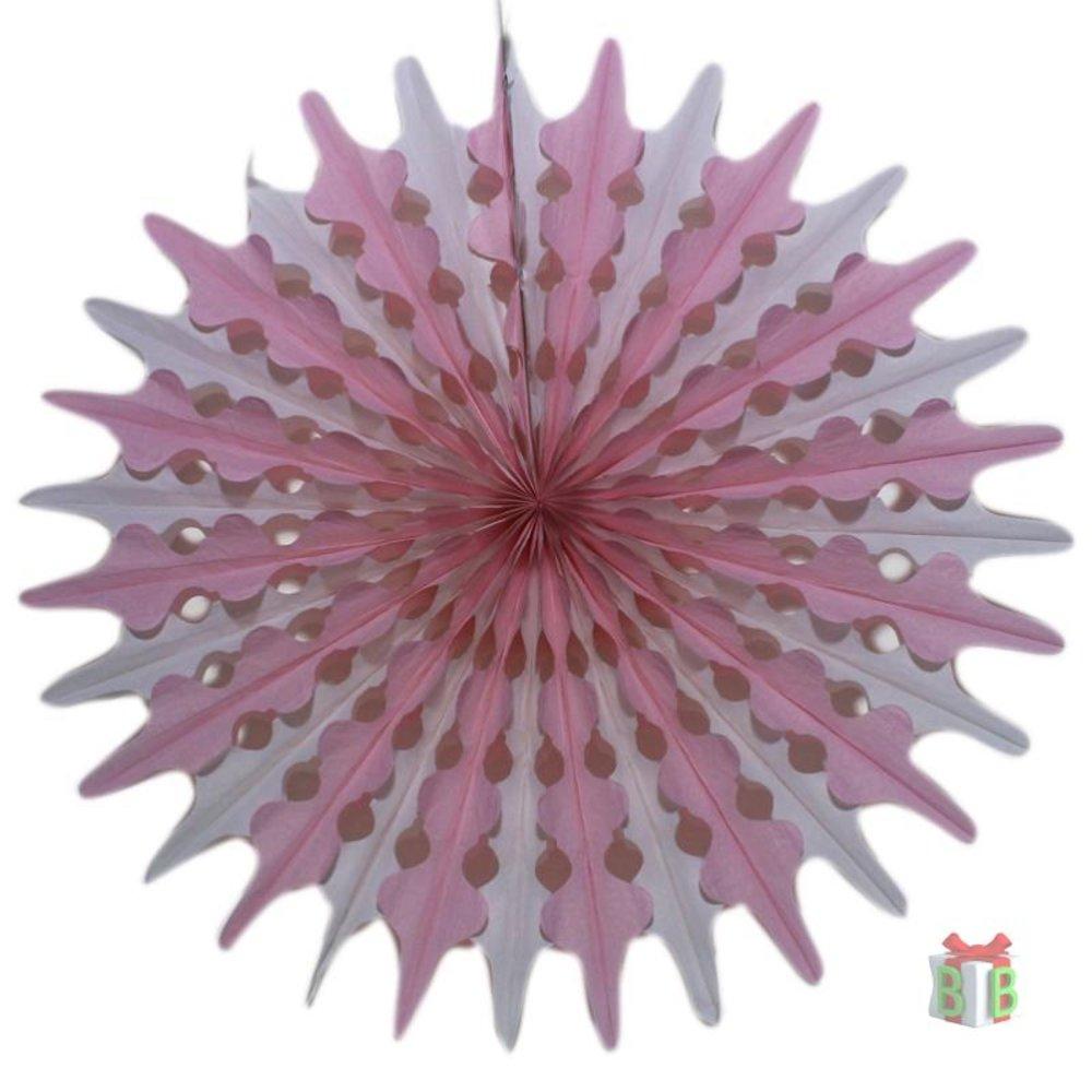 Raamdecoratie Honey comb waaier roze