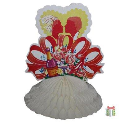 Decoratie Bruidspaar met roze rozen