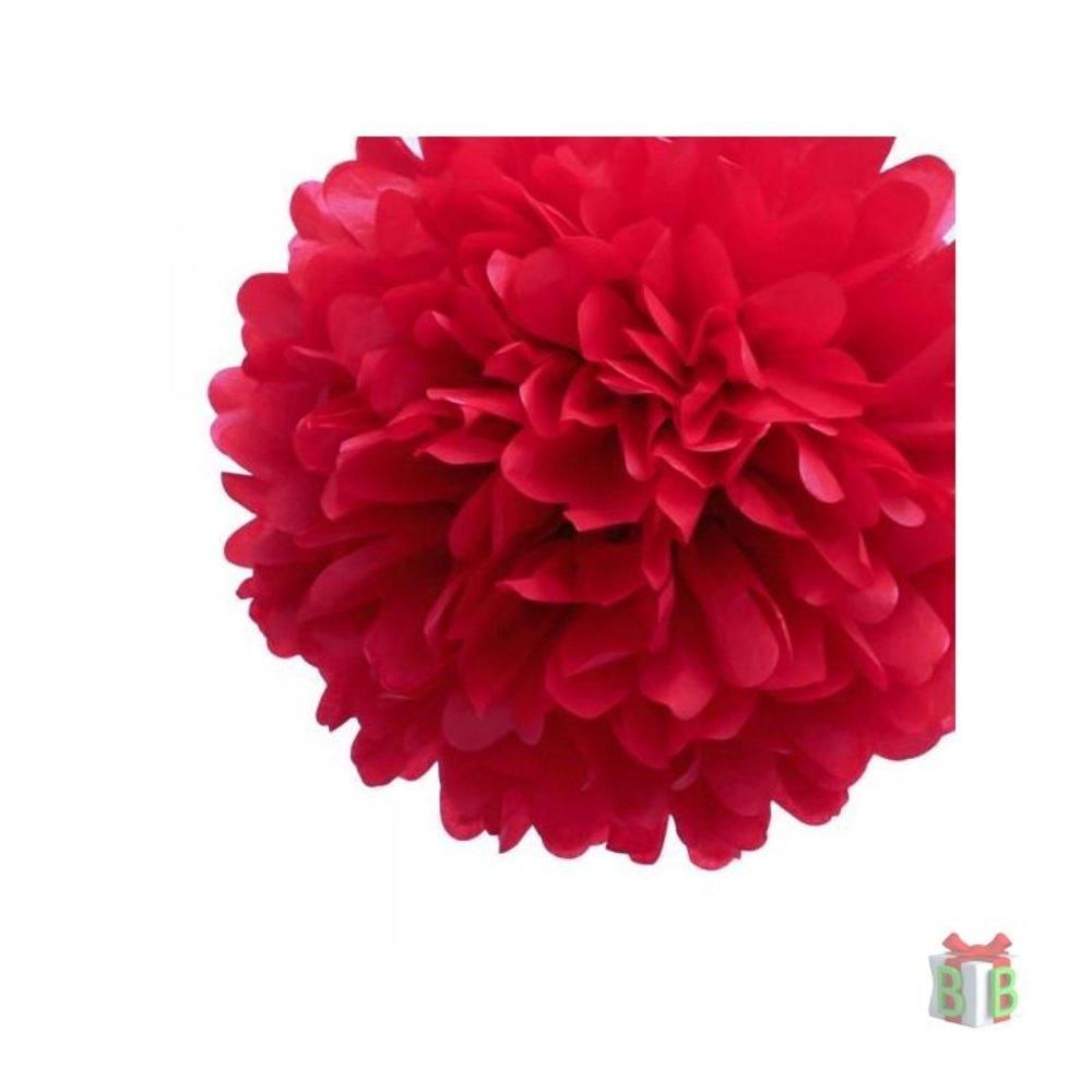 Winkeldecoratie pompom rood