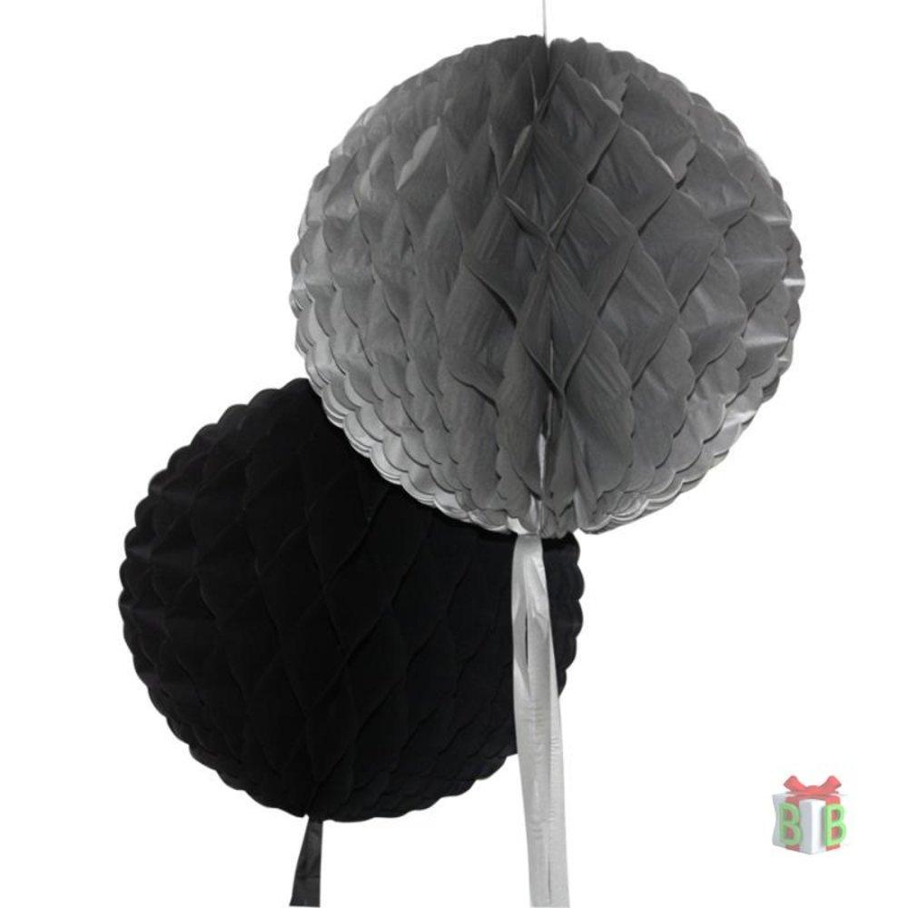 Decoratie bal Zwart en Grijs