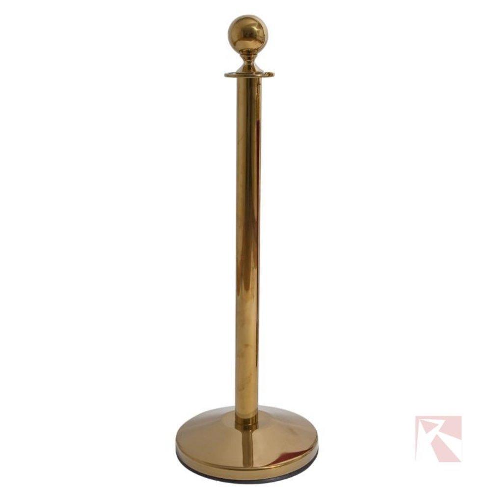 Afzetpaaltje goud met een messing afwerking en een ronde bol