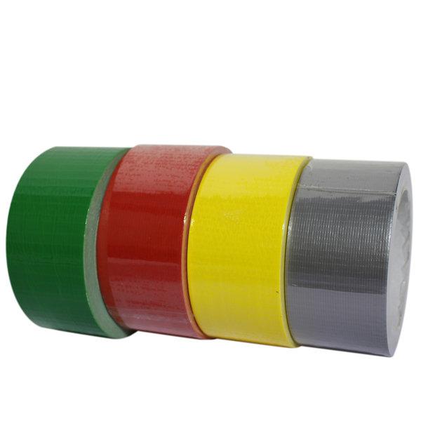 Voordelig tape naast elkaar in de kleuren groen, rood, geel en grijs met de afmetingen 50 m x 25 cm.