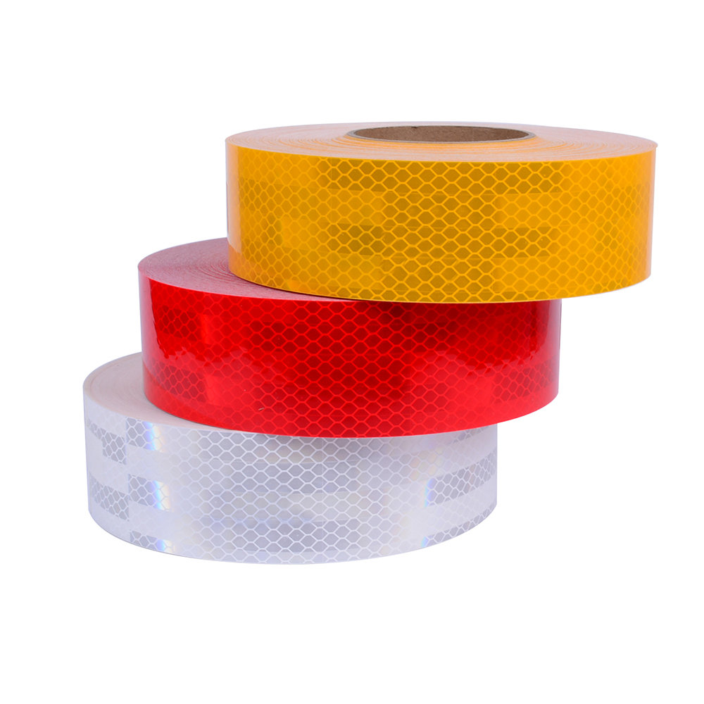 Reflecterende tape geel rood en wit